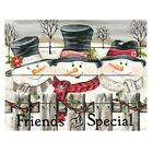 Friends Are Special -Snow Family Trio or Snowman Wooden Wall Art Made in USA