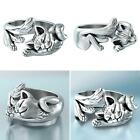 Vintage Sleeping Cats Silver Plated Opening Finger Ring Jewelry Gift 2020