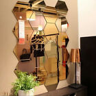 Kq_ Wall Stickers 12pcs 3d Mirror Hexagon Acrylic Removable Decal Home Decor Art