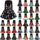 Plus Size Women Christmas Retro Santa Deer Swing Dress Xmas Skater Dress L L