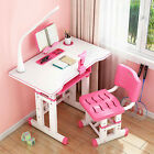 Height Adjustable Kids Study Desk Chair Set Children Table Lamp Drawer Girl Gift