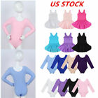 US Girls Kid Ballet Leotard Gymnastics Dress Long Sleeve Bodysuits Dance Costume