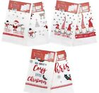 3 Pack Christmas Tea Towels, Soft 100% Cotton 3 Assorted Designs,FREE P&P