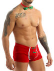 US Sexy Mens Christmas Costume Boxer Briefs with Jingle Bell Bowtie Lingerie Set