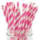 Paper Straws Pink Striped - Eco Friendly Biodegradable Party Straws