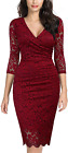 Miusol Women'S Retro Deep-V Neck Ruffles Floral Lace Evening Pencil Dress