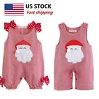 US Infant Baby Jumpsuits Christmas Costumes Girls Santa Claus Plaid Party Wear