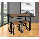 Small Space Dining Table Sets Wood & Metal Chairs Kitchen Room Furniture 3 pcs,