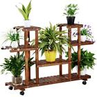 4-Tier Plant Stand Wooden Pot Planter Holder Rack Display Shelves Garden Yard