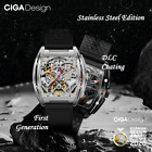 CIGA Tonneau Analog Steampunk Mechanical Wrist Watch Hollow Skeleton Dial Watch