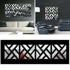 32X Mirror Tile Wall Sticker Square Self Adhesive Room Bathroom Decor Stick Art