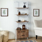3-Tier Wall Mounted Storage Shelf with Drawers, Industrial Wood Ladder Bookcase