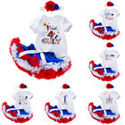Infant Baby Girls 4th of July Dress Outfits Romper Tutu Skirts Headband Costume