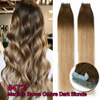 "Invisible 60PCS Tape In 100% Remy Human Hair Extensions THICK Skin Weft 14""-24"""