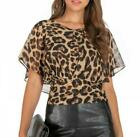 Women Summer V-Neck Chiffon Top Floral T Shirts Casual Loose Blouse Leopard Lady