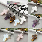 Natural Quartz Charm Crystal Stone Chakra Cross Pendant + Necklace +gift Pouch