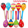 More images of 10- Colorful Wooden Maraca Baby Child Musical Instrument Rattle Shaker Party Toy