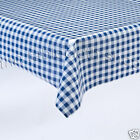 BLUE GINGHAM CHECK VINYL WIPE CLEAN TABLE COVER