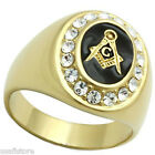 Mens Black r0 Masonic Mason Logo 18kt Gold Plated Ring