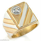 Simulated Diamond Elegant 18kt Gold Plated 2 Tone Ring