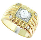 0.48ct 5mm Clear Round CZ Stone Cezar Italy Design 18kt Gold EP Tutone Ring
