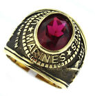 Mens Siam Red US Marines Military Gold Plated Ring