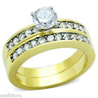 6mm Clear Stone Wedding Band Engagement Yellow Ring Set