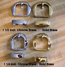 "Brass Belt Buckle Sets, Solid & Chrome, 1 1/2""  1 1/4"""