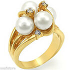 Four White Pearl & Crystal 18kt Gold EP Ladies Fashion Ring