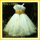 Gold Christening Flower Girl Dress Age 2-3-4-5-6-7-8-9Y