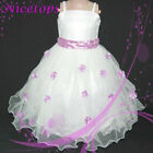 Purple Fancy Christening Party Flower Girl Dress SZ 3-8