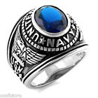 Dark Blue US Navy Military Rhodium EP Mens Ring New