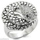 Womens Black Eye Crystal St Snake Silver Rhodium Plated Ring