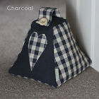 Laura Ashley Fabric Door stop Gingham Heart Charcoal Black Check (unfilled)