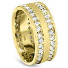 7.5MM 1.50CT Real Diamond Double Eternity Ring Yellow Gold Wedding Band (4-10)