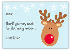 10 Personalised RUDOLPH Christmas Thank You Note Cards