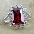 Lady Silver-tone Cocktail Ring Rectangle Red Garnet Peridot White Topaz Amethyst