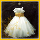 NT UK #G818 Gold White Christmas Party Flowers Girls Dress SIZE 2-3-4-5-6-7-8-9Y