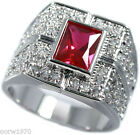 Ruby Red Stone With Full Crystal Pave Rhodium EP Mens Ring