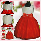 White Red Christmas Wedding Flowers Girls Pageant Dresses SZ 2-3-4-5-6-7-8-9-10Y
