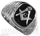 Masonic Mason Black Five Crystal Stones Stainless Steel Ring