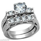 Clear 1.97ct  CZ Wedding Band Engagement Silver Rhodium EP Ladies Ring Set