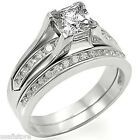 Princess Cut Stone Engagement Wedding Set Rhodium EP Ladies Ring