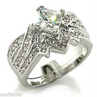 Princess Cut Russian Formula Wedding Engagement Rhodium EP Ladies Ring Set