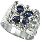 Four Blue Stone Silver Rhodium Plated Mens Ring