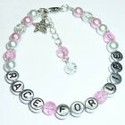 Girls Race For Life Pink Breast Cancer Charity Charm Beads Bracelet Gift - BR20
