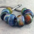 DFJ Lampwork 10 USA Handmade Orphan Glass European Charm Beads fit All Chain sra