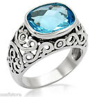 Classic Aqua Marine Stones Silver Stainless Steel Ladies Ring New