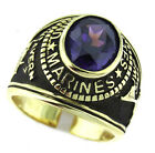 US Marines Military Simulated Amethyst Gold Plated Ring
