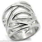 18MM Wide Top No Stone Silver Stainless Steel Ladies Ring New